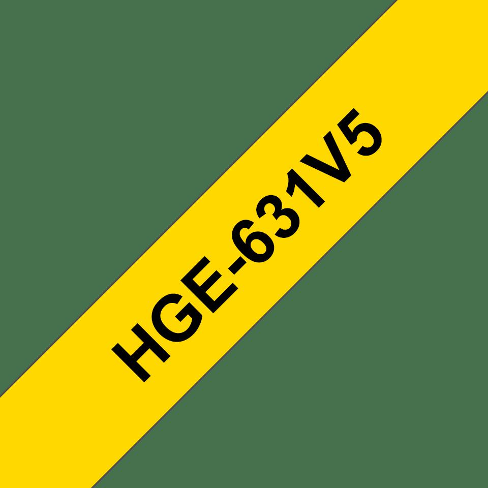 Original HGe-631V5 High Grade Schriftbandkassetten von Brother – Schwarz auf Gelb, 12mm breit
