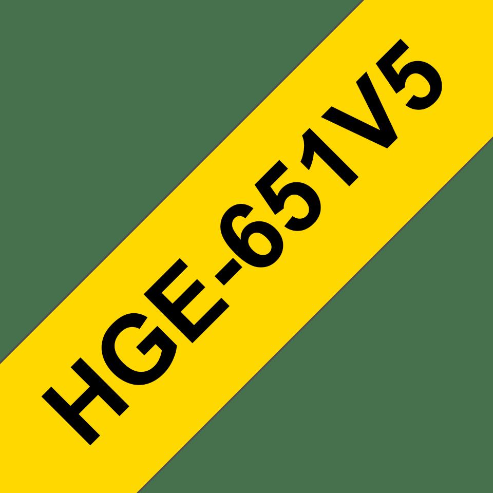 Original HGe-651V5 High Grade Schriftbandkassetten von Brother – Schwarz auf Gelb, 24mm breit
