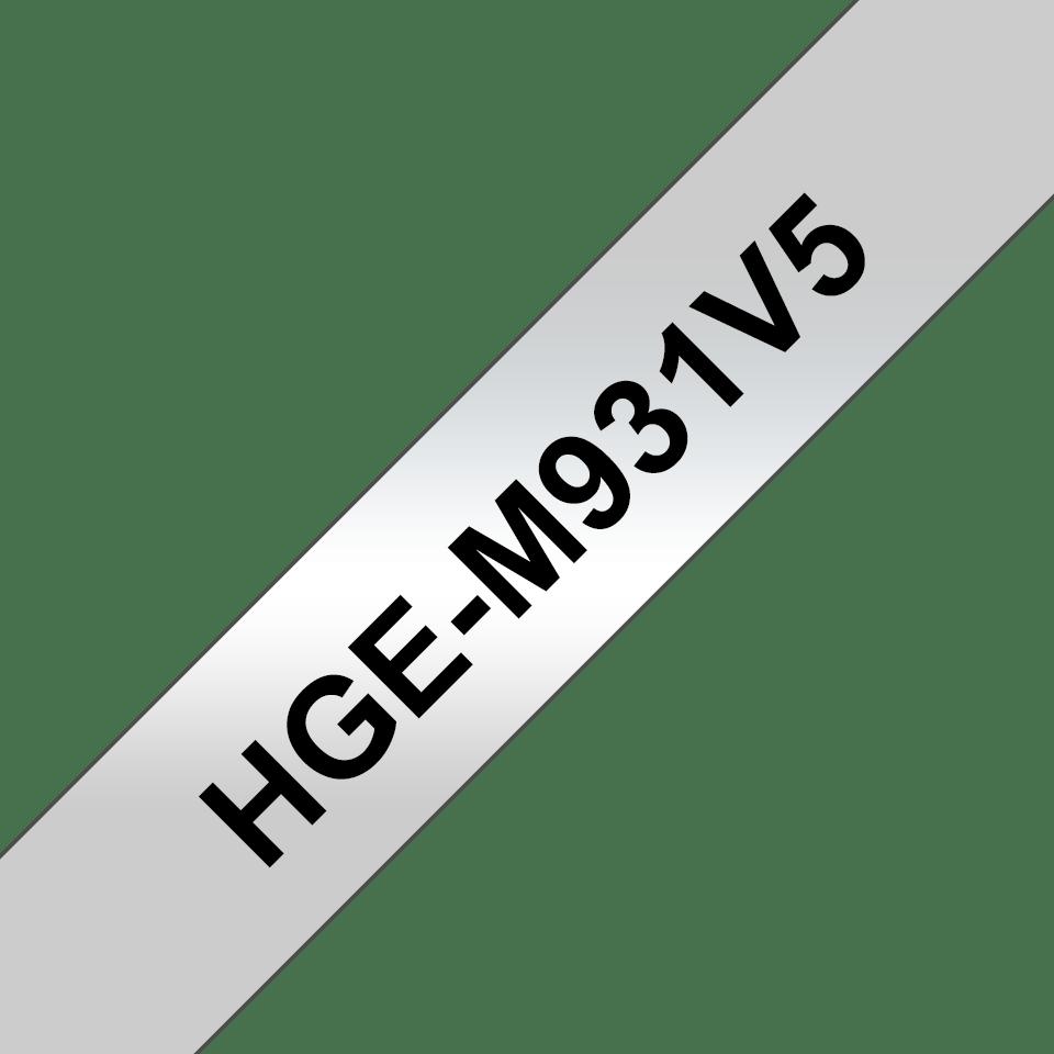 Original HGe-M931V5 High Grade Schriftbandkassetten von Brother – Schwarz auf Mattsilber, 12mm breit