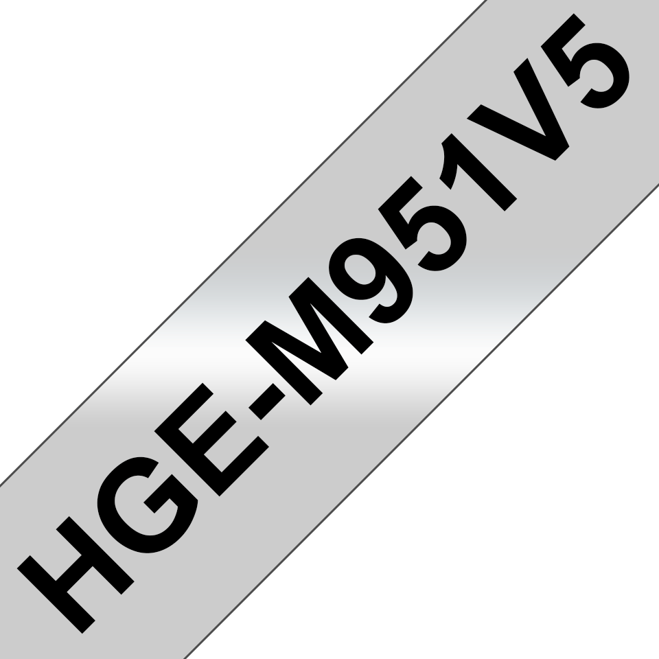 Rubans pour étiqueteuse HGe-M951V5 Brother originaux – Noir sur argent mat, 24mm de large