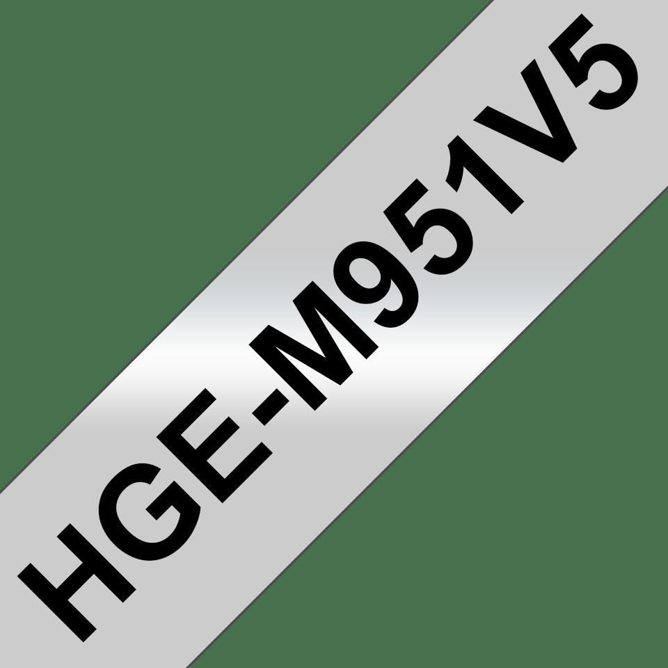 Original HGe-M951V5 High Grade Schriftbandkassetten von Brother – Schwarz auf Mattsilber, 24mm breit