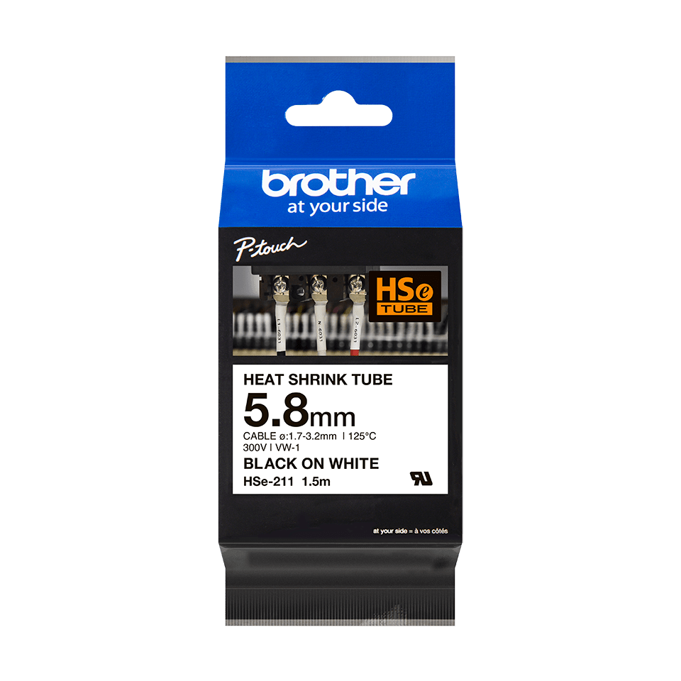Cartouche pour gaine thermorétractable HSe-211 Brother originale – Noir sur blanc, 5,8 mm de large 3
