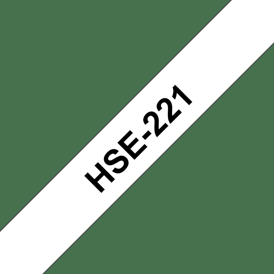Cartouche à ruban pour gaine thermorétractable HSe-221 Brother originale – Noir sur blanc, 8,8mmx1,5m. Ruban continu.