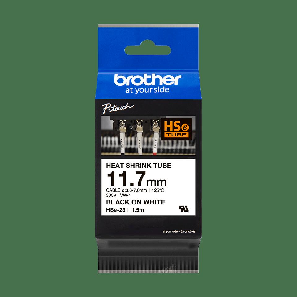 Original HSe-231 Schrumpfschlauchkassette von Brother – Schwarz auf Weiß, 11,7mm breit 2