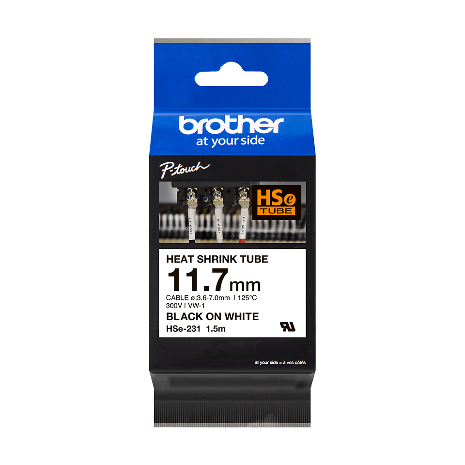 Cartouche pour gaine thermorétractable HSe-231 Brother originale – Noir sur blanc, 11,7 mm de large 2