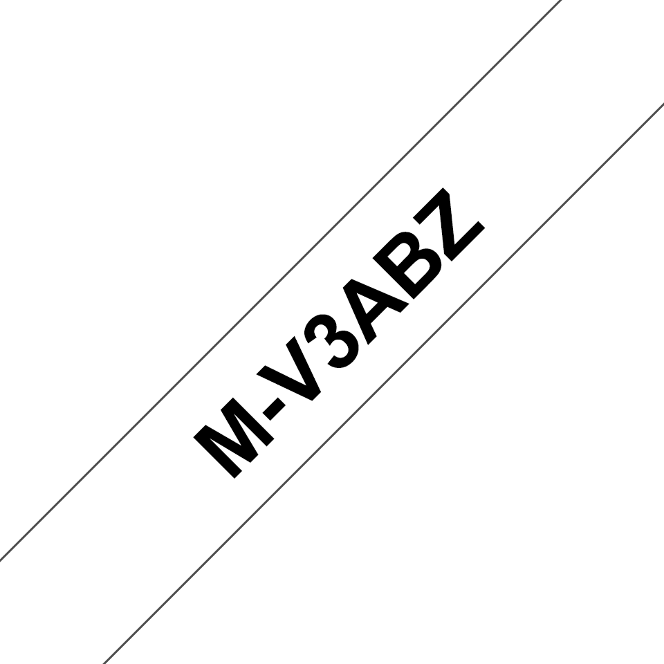 Original M-V3ABZ Schriftbandkassette von Brother – Schwarz auf Weiß, 9mm breit