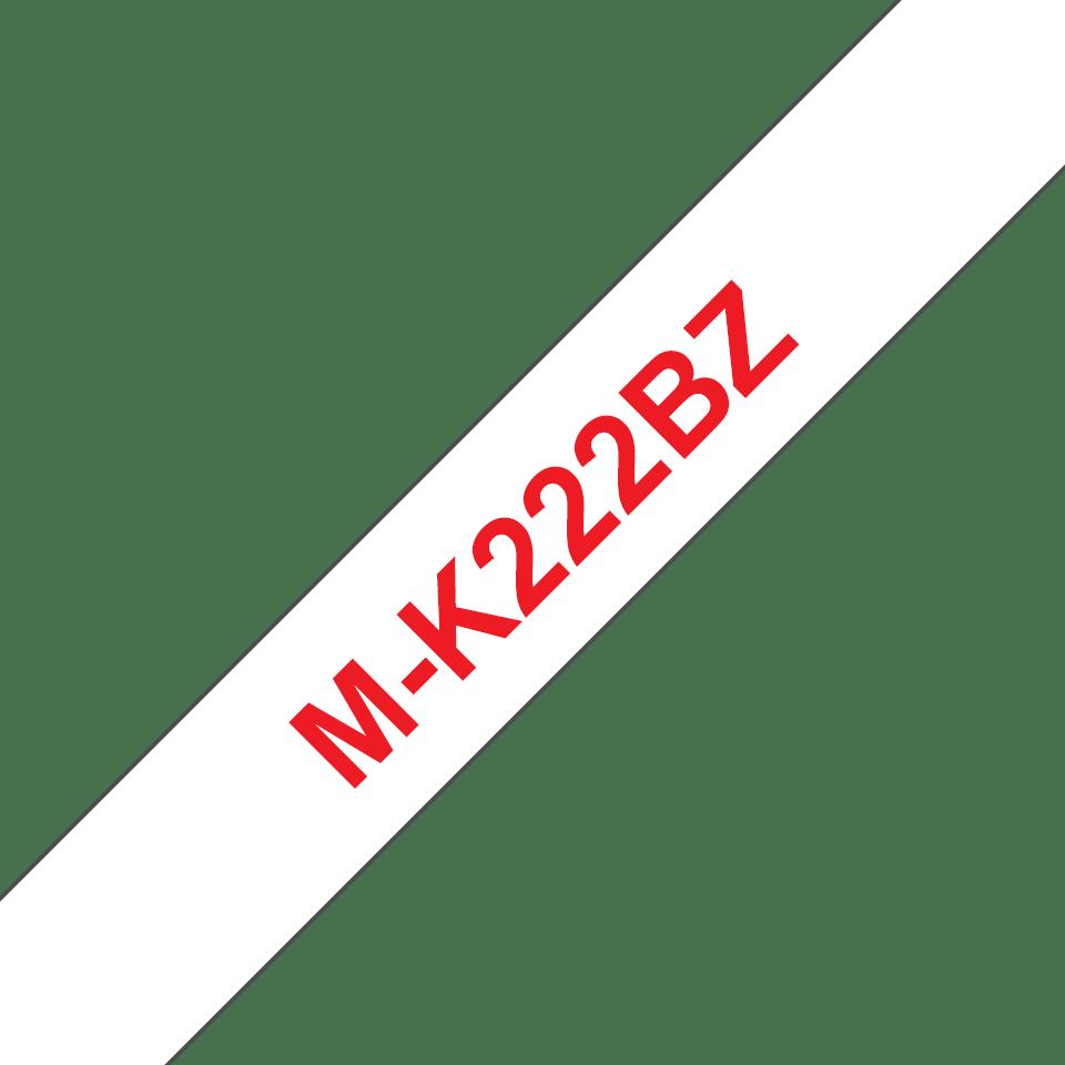Original M-K222BZ Schriftbandkassette von Brother – Rot auf Weiß, 9mm breit