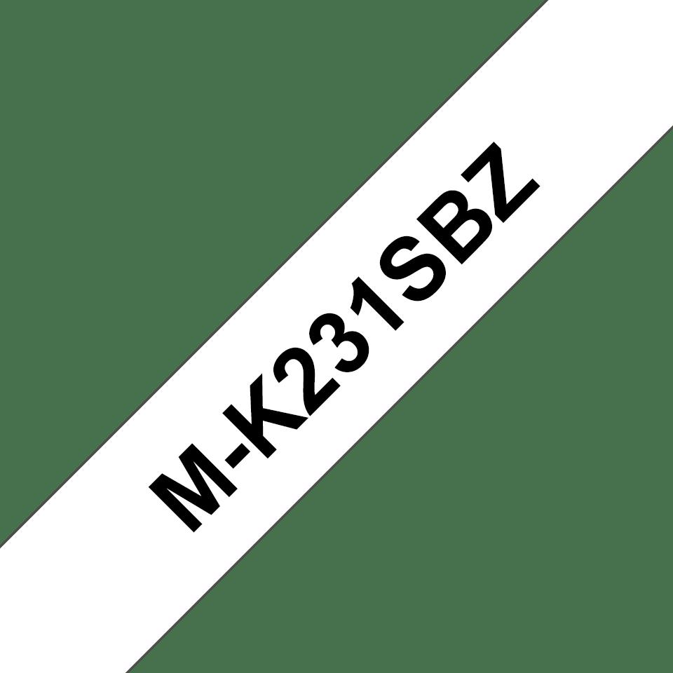 Cassette à ruban pour étiqueteuse M-K231SBZ Brother originale – Noir sur blanc, 12mm de large