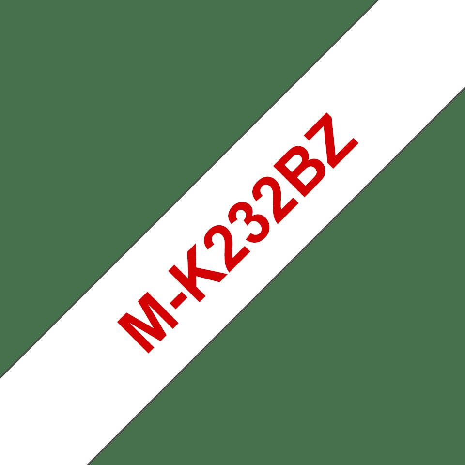 Original M-K232BZ Schriftbandkassette von Brother – Rot auf Weiß, 12mm breit
