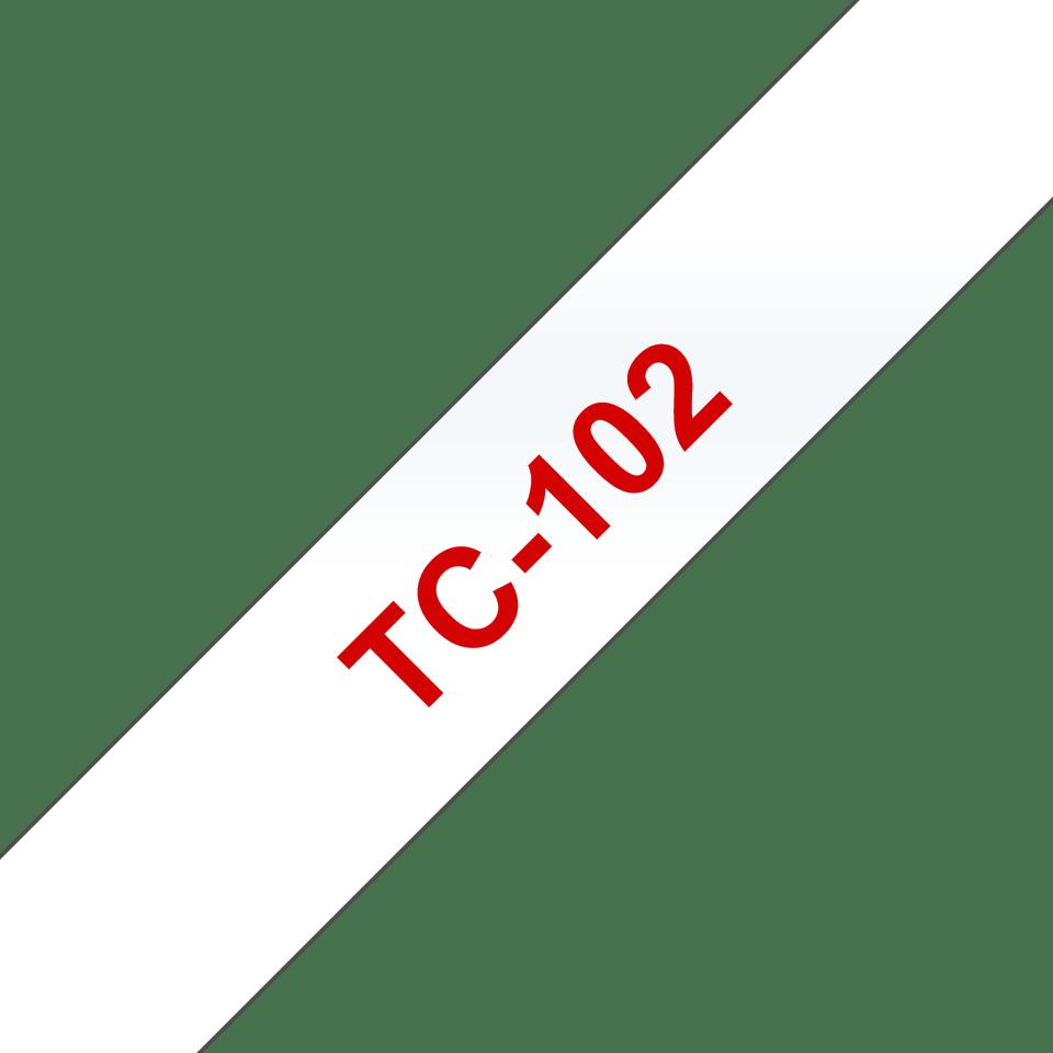 Original TC-102 Schriftbandkassette von Brother – Rot auf Transparent, 12mm breit