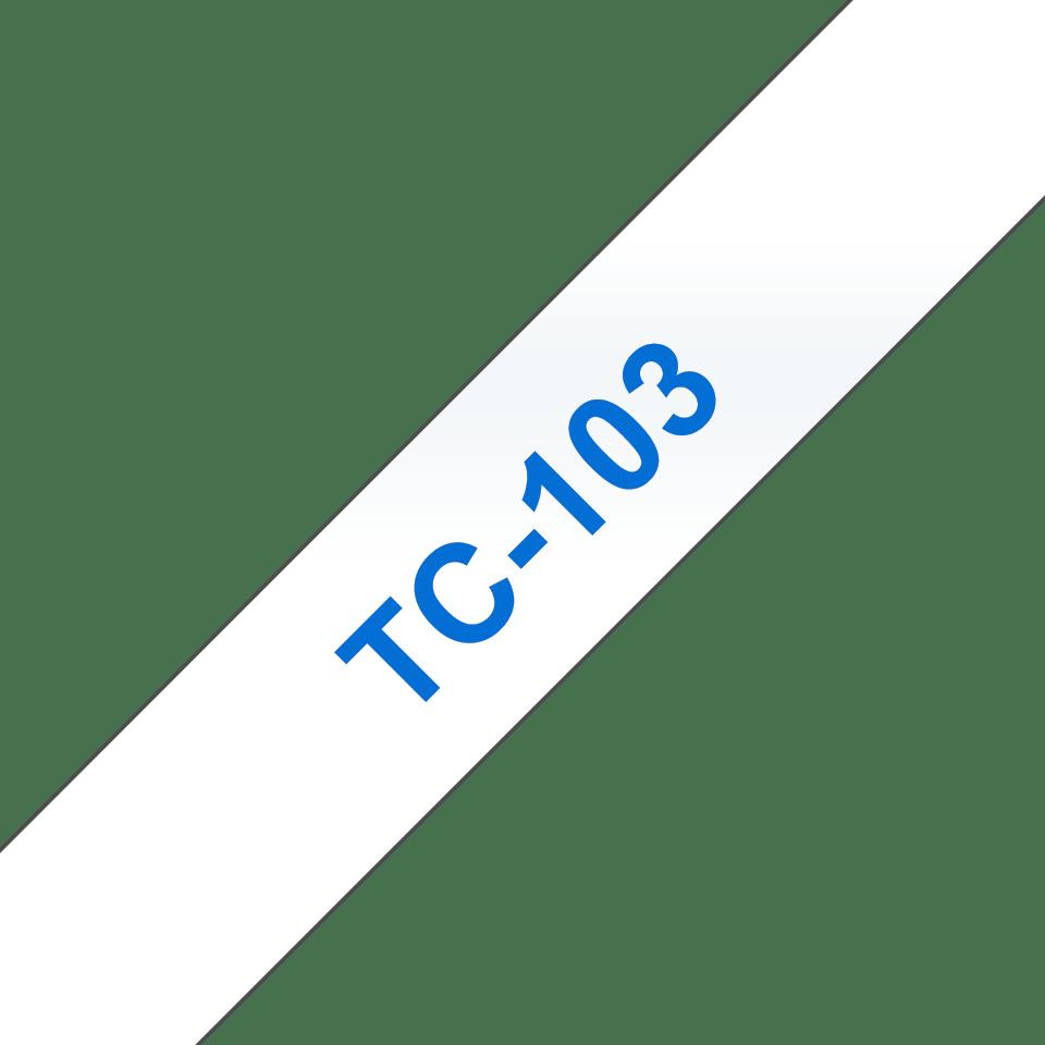 Cassette à ruban pour étiqueteuse TC-103 Brother originale – Bleu sur transparent, 12mm de large