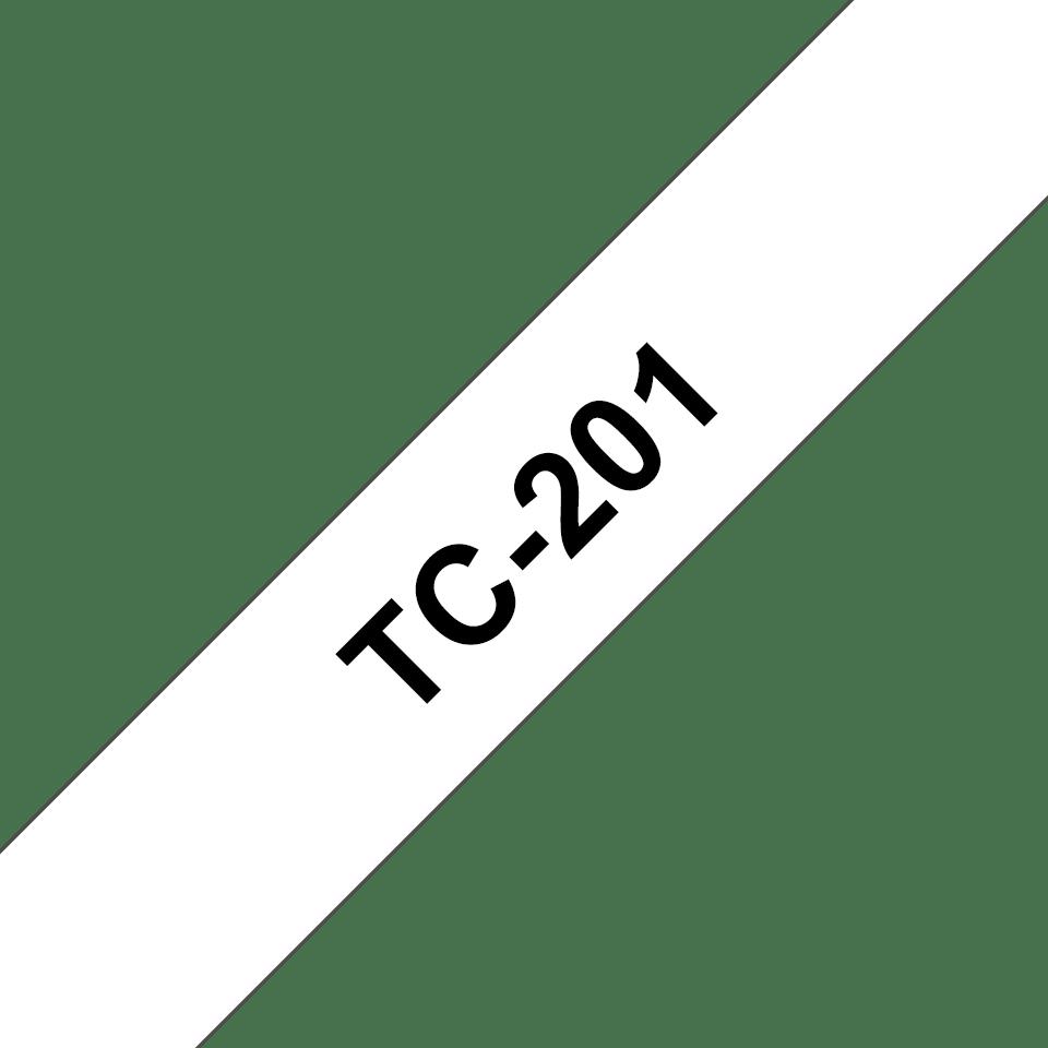 Cassette à ruban pour étiqueteuse TC-201 Brother originale – Noir sur blanc, 12mm de large