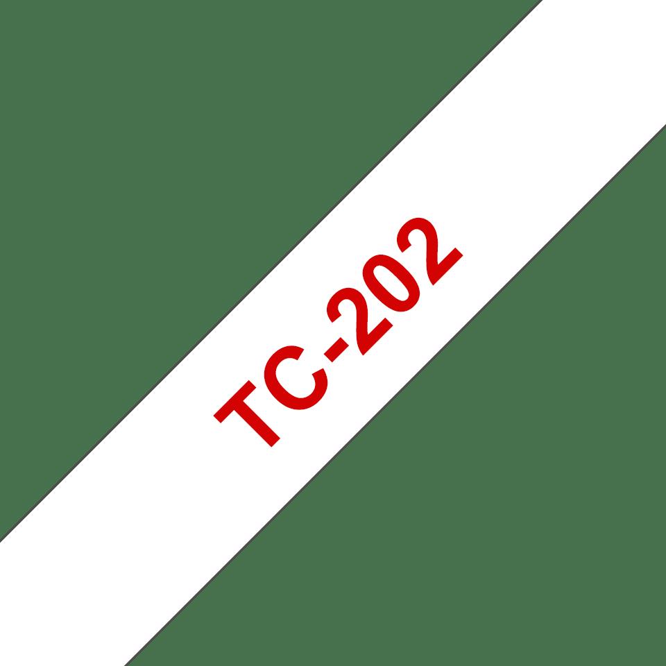 Cassette à ruban pour étiqueteuse TC-202 Brother originale – Rouge sur blanc, 12mm de large