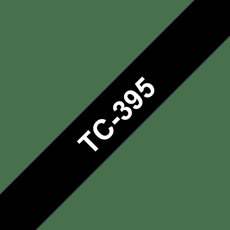 Original TC-395 Schriftbandkassette von Brother – Weiß auf Schwarz, 9mm breit