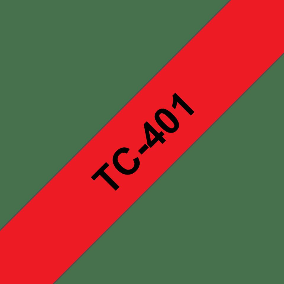 Original TC-401 Schriftbandkassette von Brother – Schwarz auf Rot, 12mm breit