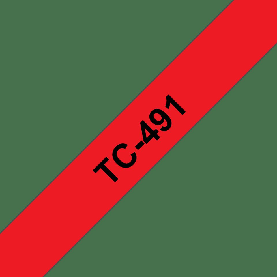 Original TC-491 Schriftbandkassette von Brother – Schwarz auf Rot, 9mm breit