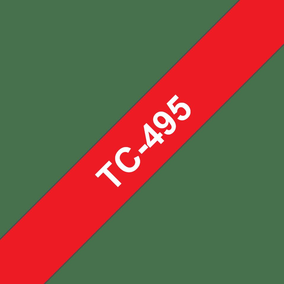 Original TC-495 Schriftbandkassette von Brother – Weiß auf Rot, 9mm breit