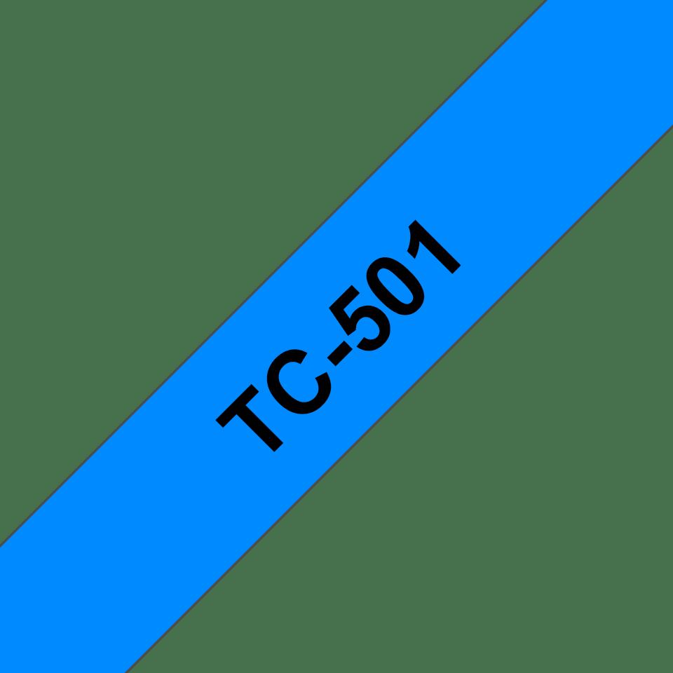 Original TC-501 Schriftbandkassette von Brother – Schwarz auf Blau, 12mm breit