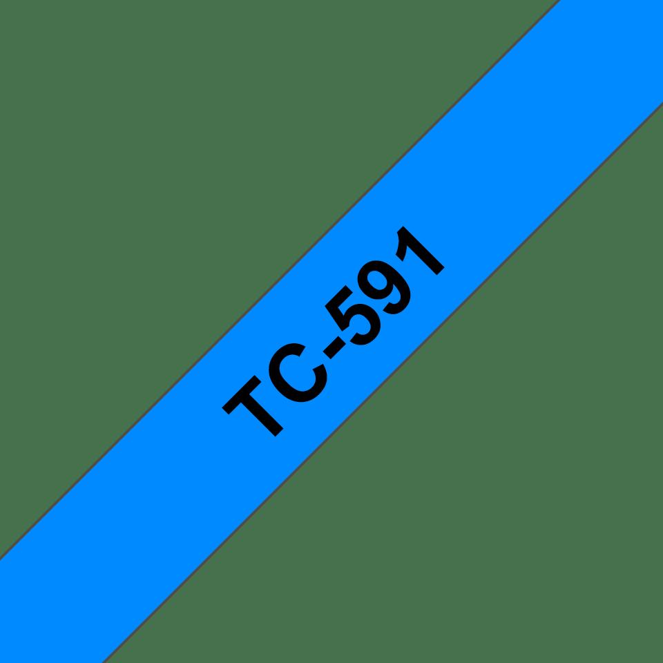 Original TC-591 Schriftbandkassette von Brother – Schwarz auf Blau, 9mm breit