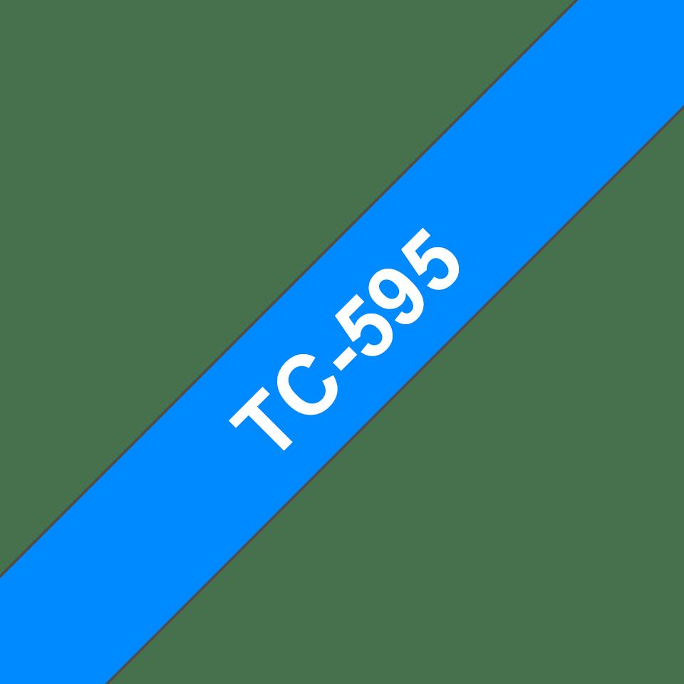 Cassette à ruban pour étiqueteuse TC-595 Brother originale – Blanc sur bleu, 9mm de large