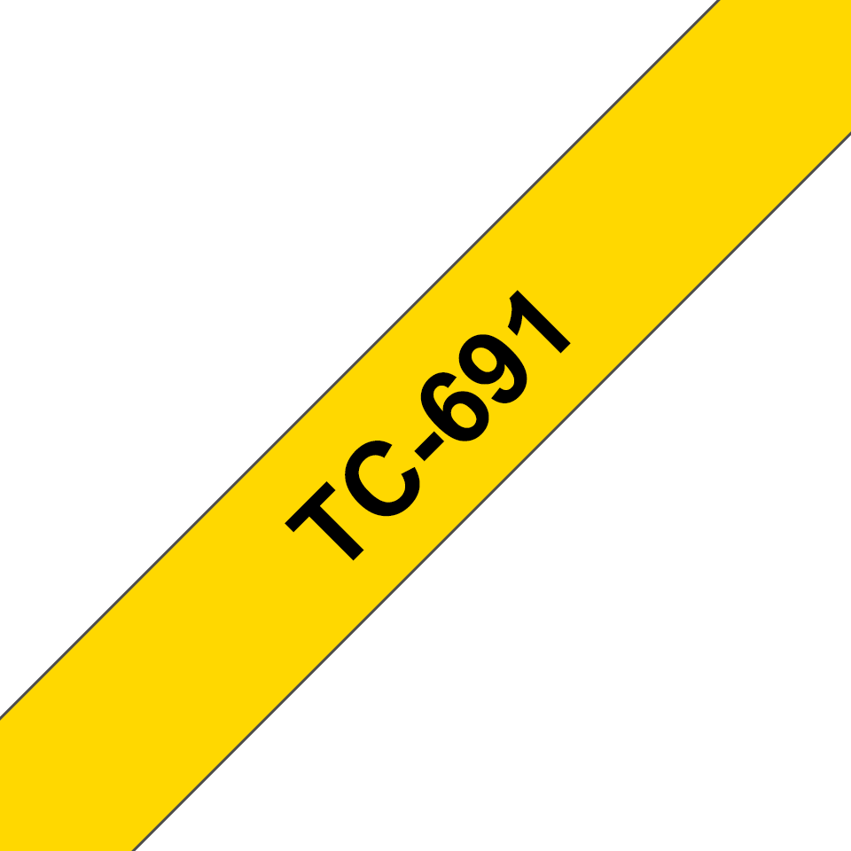 Cassette à ruban pour étiqueteuse TC-691 Brother originale – Noir sur jaune, 9mm de large