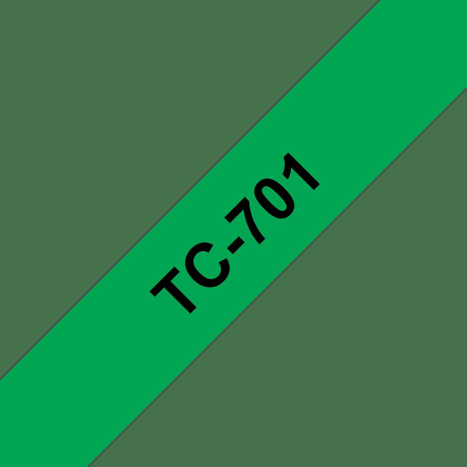 Original TC-701 Schriftbandkassette von Brother – Schwarz auf Grün, 12mm breit