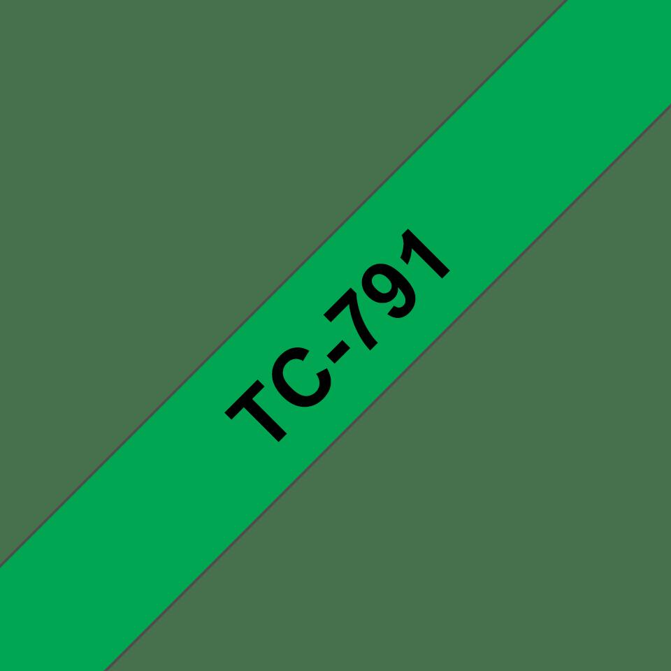 Original TC-791 Schriftbandkassette von Brother – Schwarz auf Grün, 9mm breit