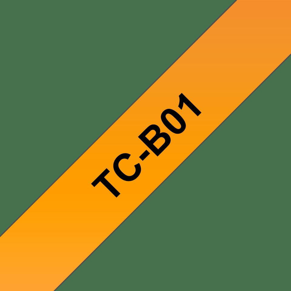 Original TC-B01 fluoreszierende Schriftbandkassette von Brother – Schwarz auf Orange, 12mm breit