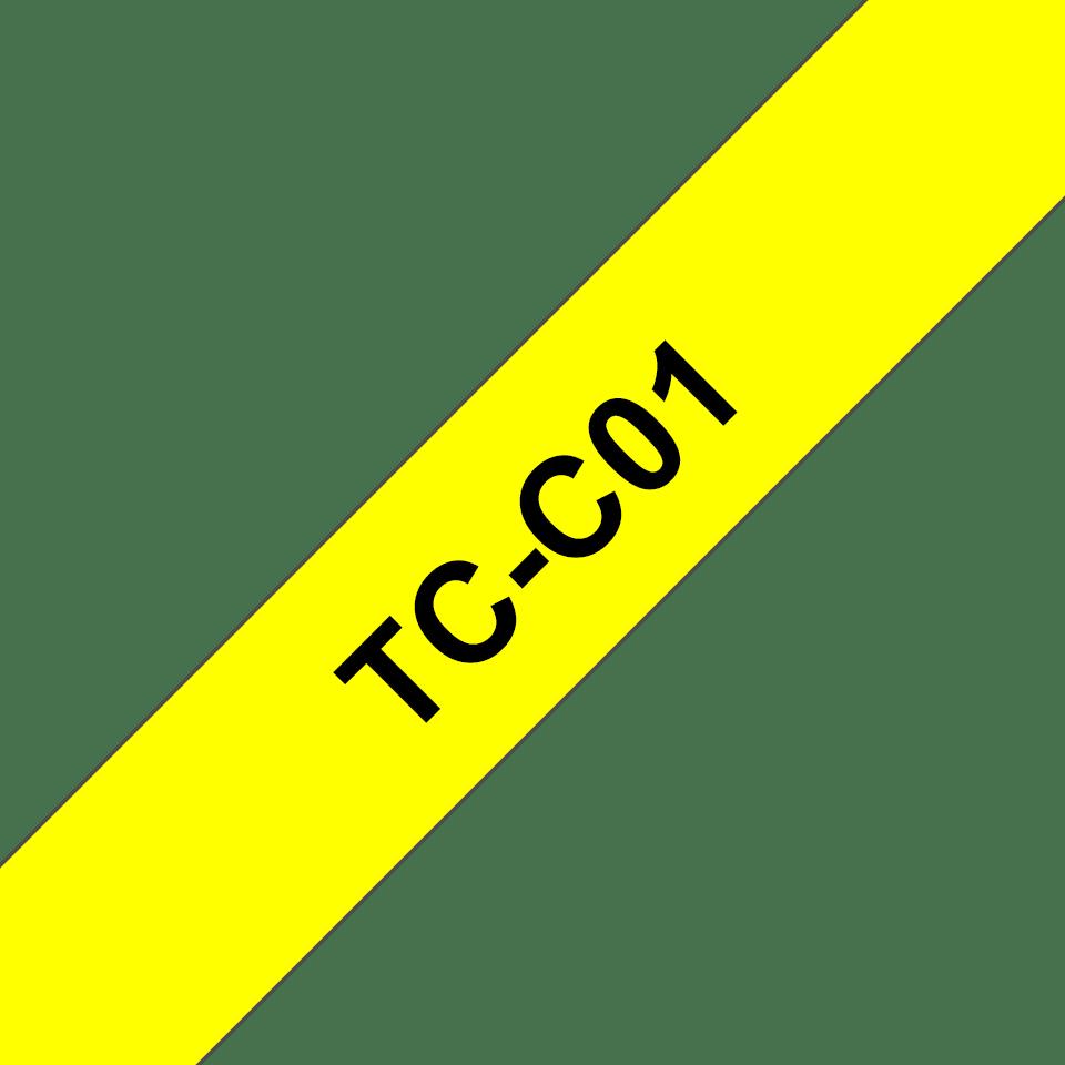 Original TC-C01 fluoreszierende Schriftbandkassette von Brother – Schwarz auf Gelb, 12mm breit