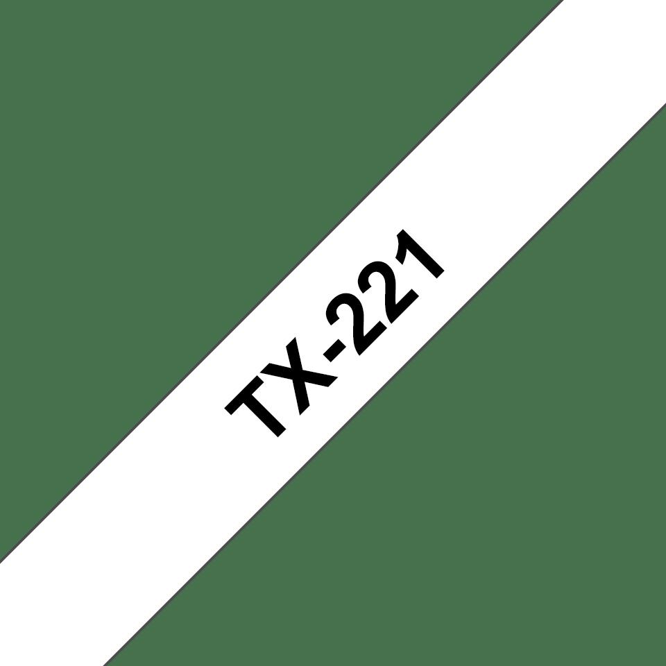 Original TX-221 Schriftbandkassette von Brother – Schwarz auf Weiß, 9mm breit