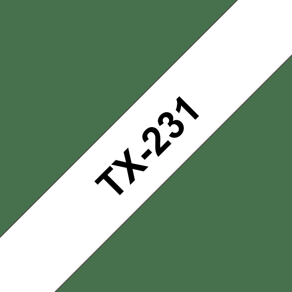 Original TX-231 Schriftbandkassette von Brother – Schwarz auf Weiß, 12mm breit