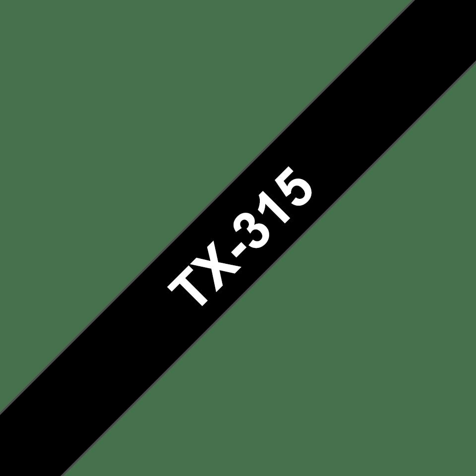 Cassette à ruban pour étiqueteuse TX-315 Brother originale – Blanc sur noir, 6mm de large