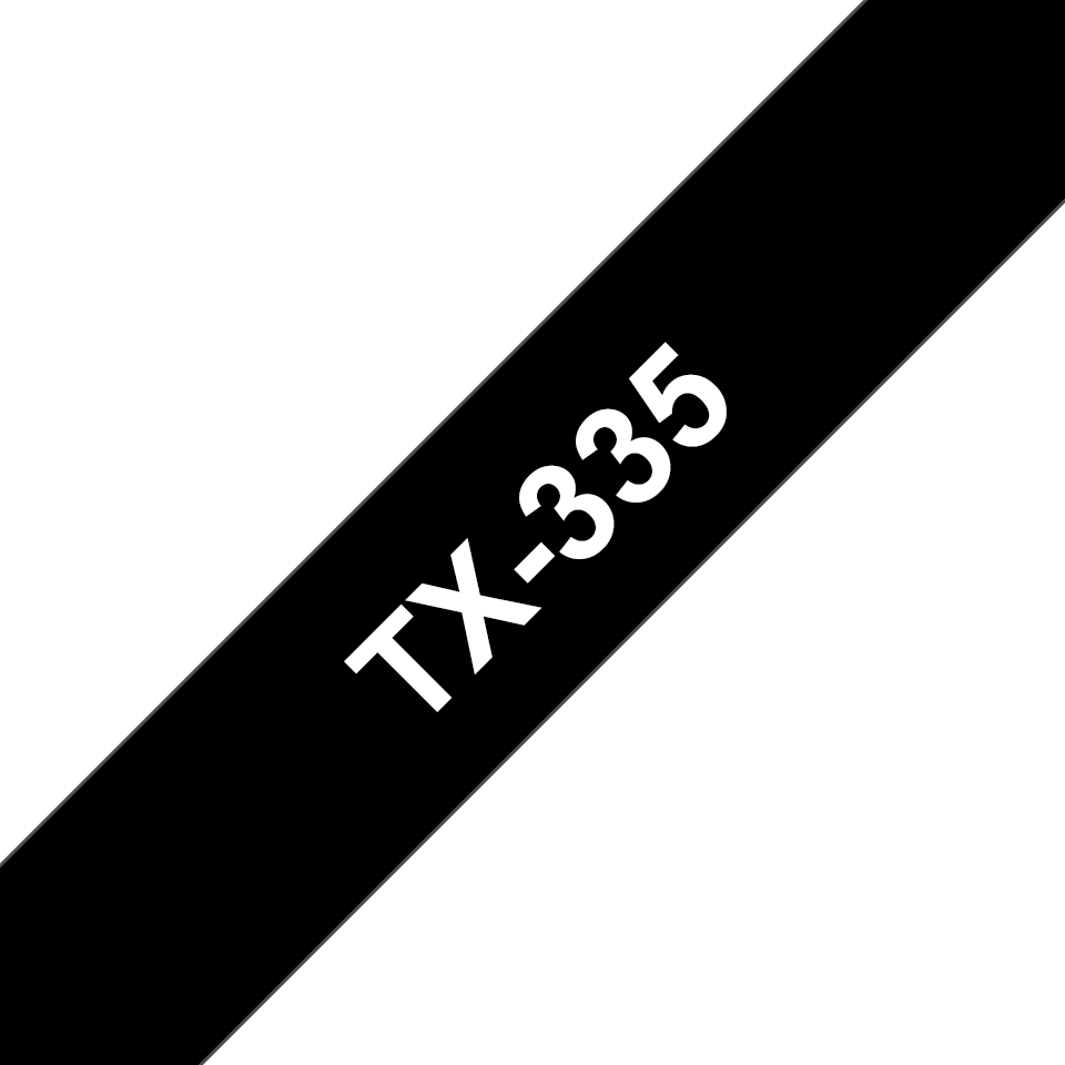 Original TX-335 Schriftbandkassette von Brother – Weiß auf Schwarz, 12mm breit