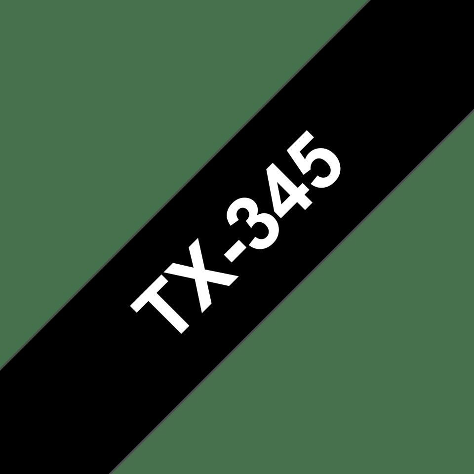 Cassette à ruban pour étiqueteuse TX-345 Brother originale – Blanc sur noir, 18mm de large