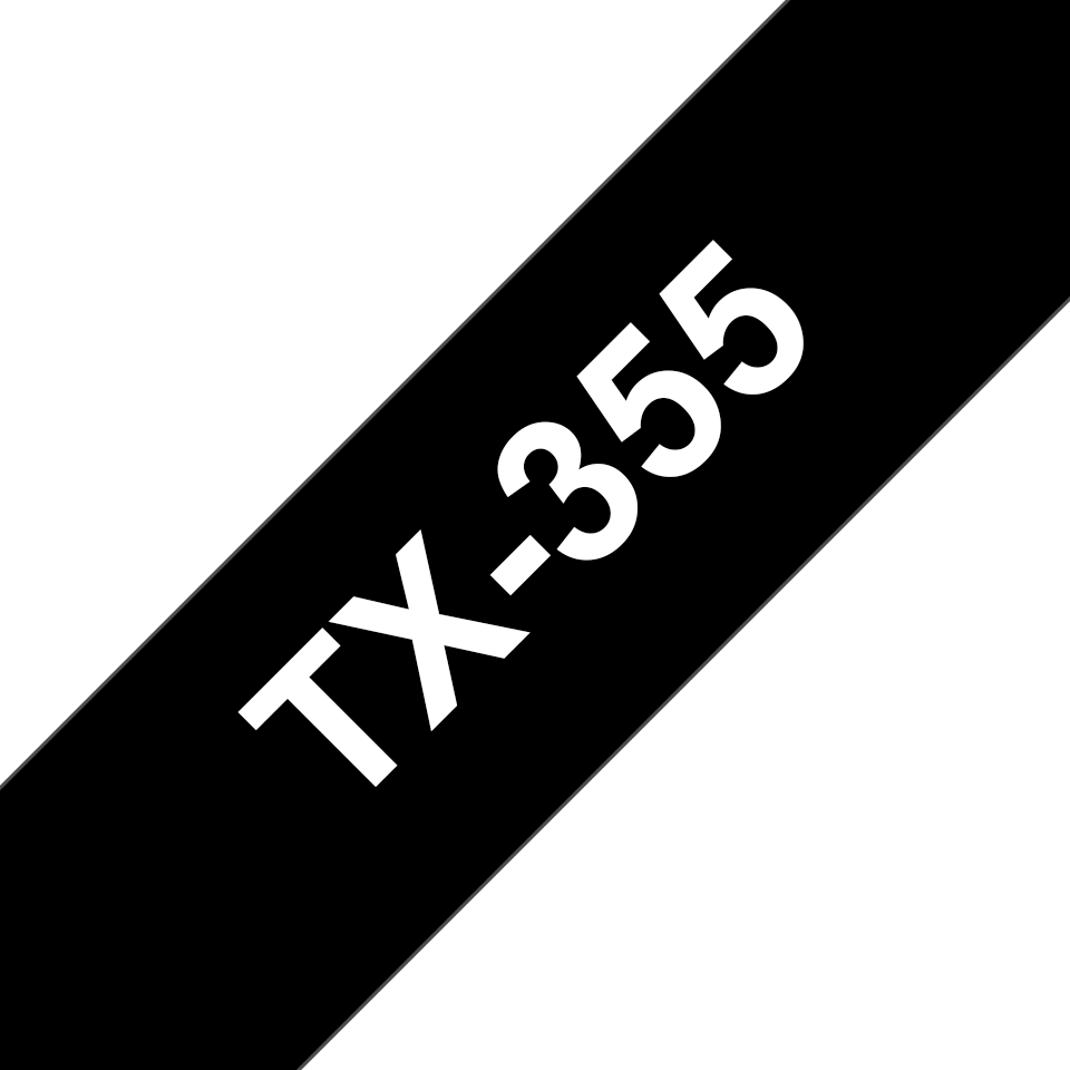 Cassette à ruban pour étiqueteuse TX-355 Brother originale – Blanc sur noir, 24mm de large