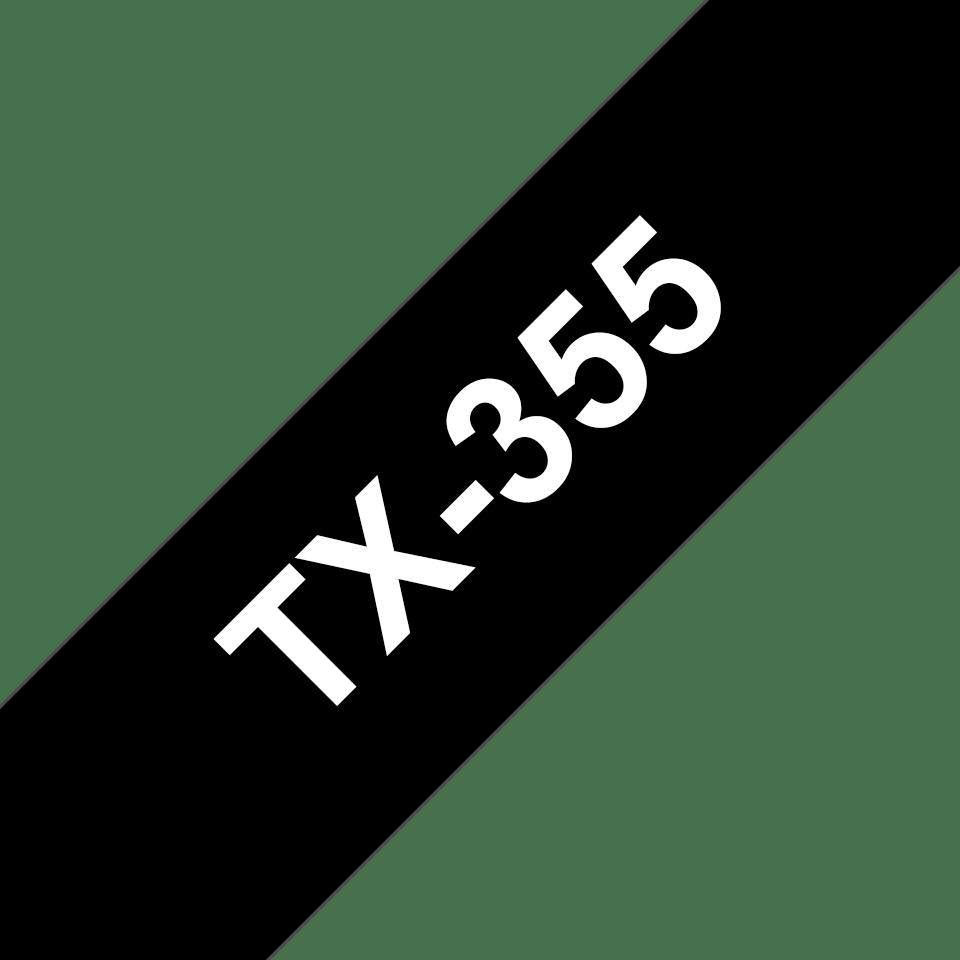 Original TX-355 Schriftbandkassette von Brother – Weiß auf Schwarz, 24mm breit