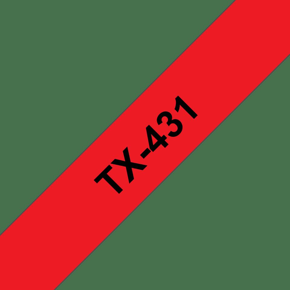 Original TX-431 Schriftbandkassette von Brother – Schwarz auf Rot, 12mm breit