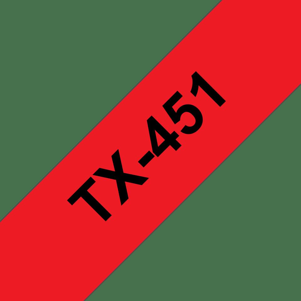 Cassette à ruban pour étiqueteuse TX-451 Brother originale – Noir sur rouge, 24mm de large