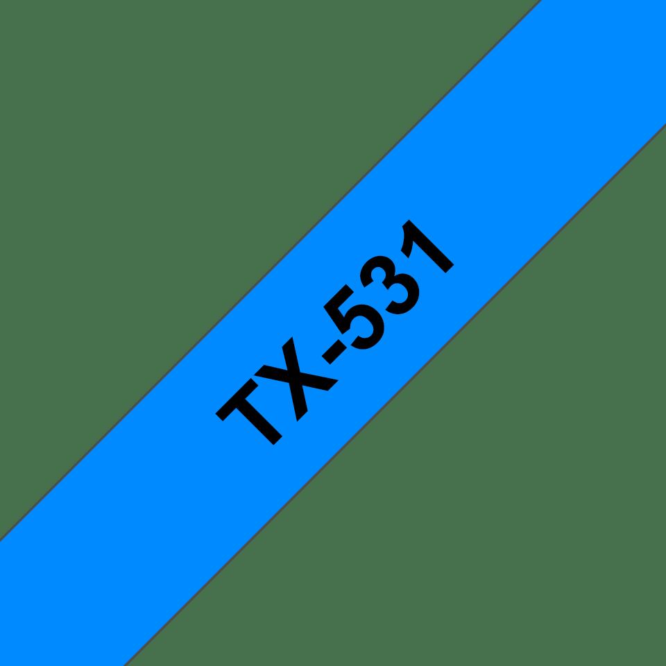 Original TX-531 Schriftbandkassette von Brother – Schwarz auf Blau, 12mm