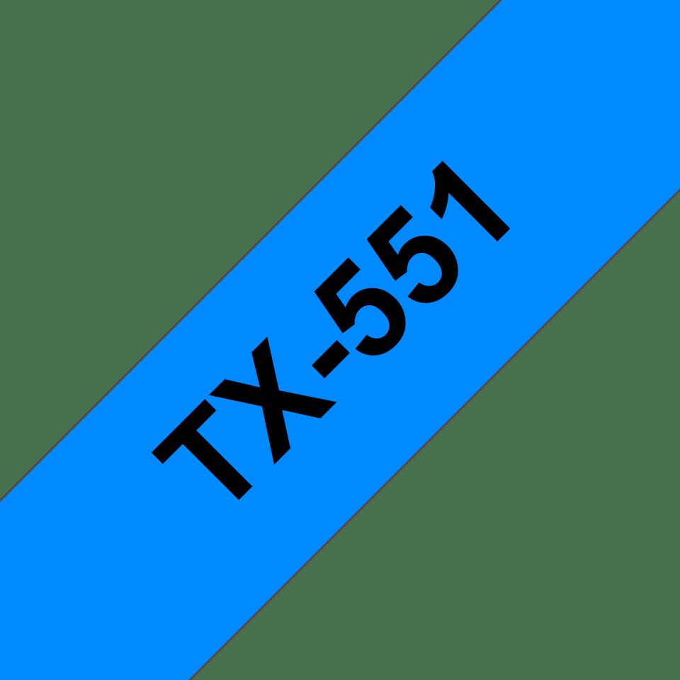 Original TX-551 Schriftbandkassette von Brother – Schwarz auf Blau, 24mm