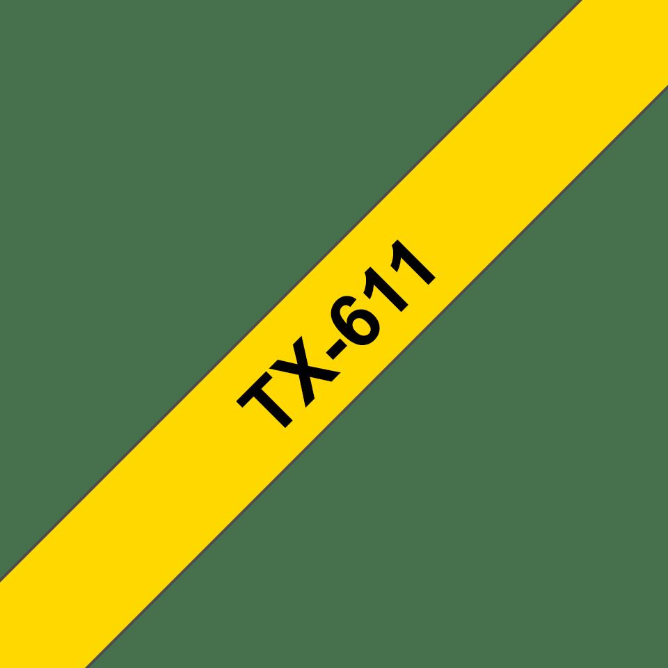 Original TX-611 Schriftbandkassette von Brother – Schwarz auf Gelb, 6mm breit