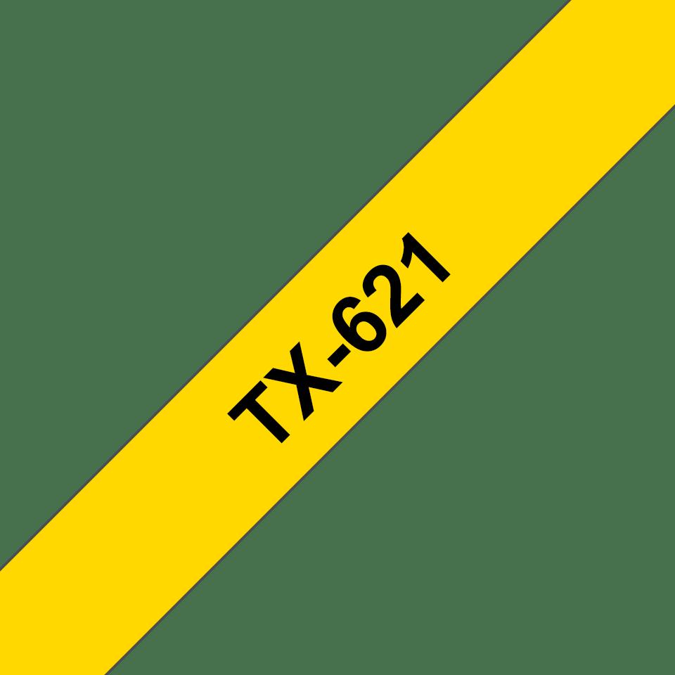 Original TX-621 Schriftbandkassette von Brother – Schwarz auf Gelb, 9mm breit