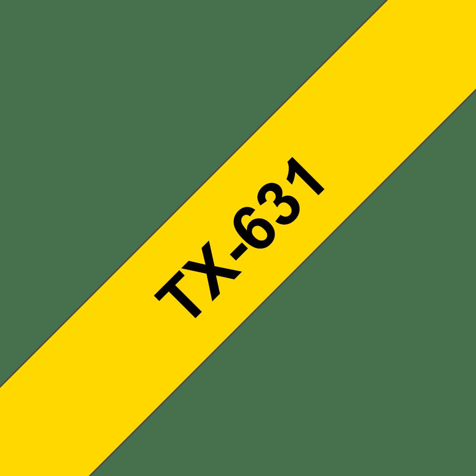 Original TX-631 Schriftbandkassette von Brother – Schwarz auf Gelb, 12mm breit