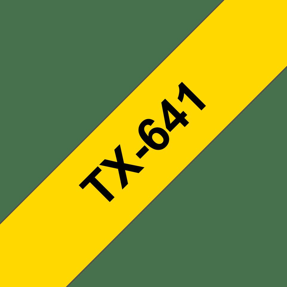 Original TX-641 Schriftbandkassette von Brother – Schwarz auf Gelb, 18mm breit