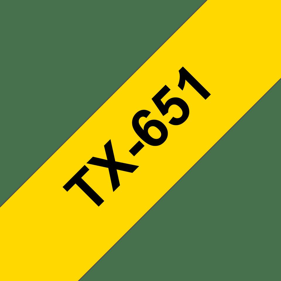 Original TX-651 Schriftbandkassette von Brother – Schwarz auf Gelb, 24mm breit