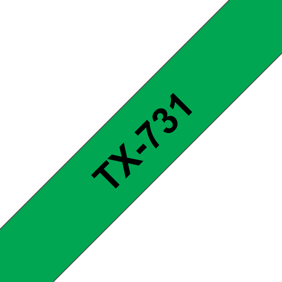 Original TX-731 Schriftbandkassette von Brother – Schwarz auf Grün, 12mm breit