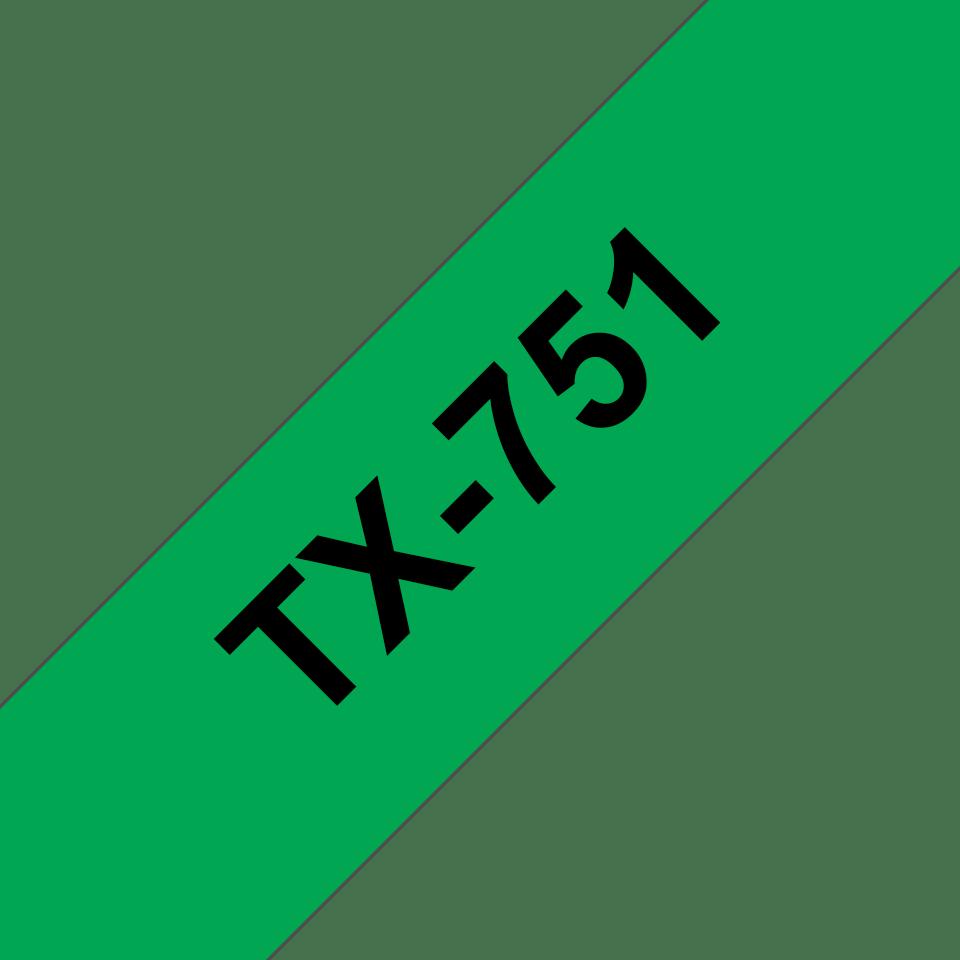 Original TX-751 Schriftbandkassette von Brother – Schwarz auf Grün, 24mm breit