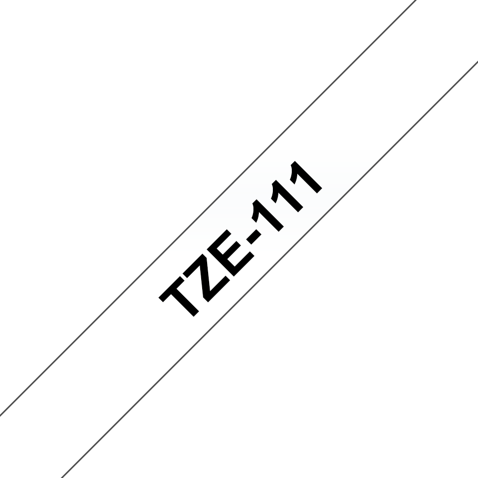 Original TZe-111 Schriftbandkassetten von Brother – Schwarz auf Transparent, 6mm breit 3