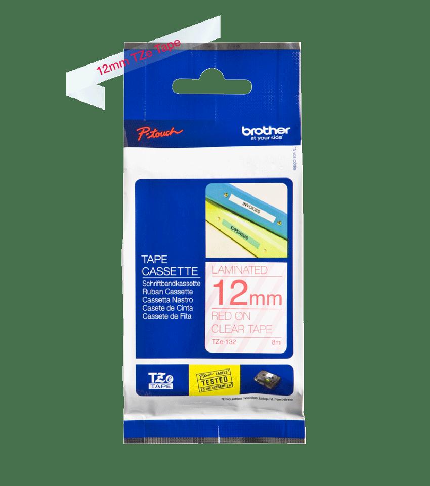 Original TZe-132 Schriftbandkassette von Brother – Rot auf Transparent, 12mm breit 2