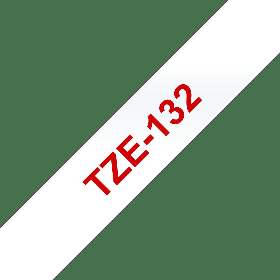 Original TZe-132 Schriftbandkassette von Brother – Rot auf Transparent, 12mm breit 3